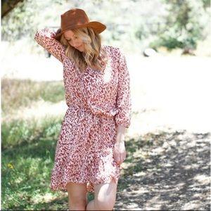 CABi Sienna Dress V-Neck Ruffle Hem 3/4 Sleeve N34